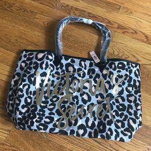 Victoria's Secret leopard print canvas tote bag